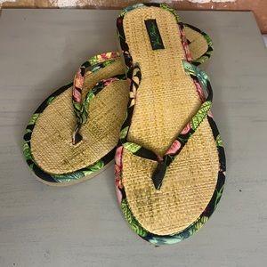 Vera Bradley Straw Flip Flop Sandals